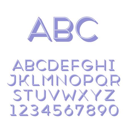 extruded: Fatto a mano tipo di carattere sans-serif Thin 3d-estruso tipo glifo principale e 3d parte estruso posto in strati separati di file vettore