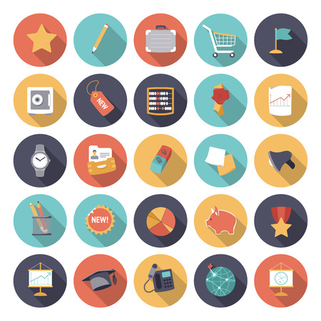 commerce communication: Flat design icons for business and finance  Vector eps10 with transparency  Illustration