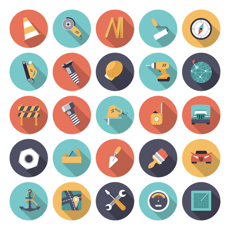 flat brush: Flat design icons for industrial   Illustration