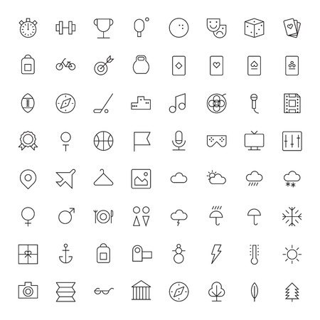 Thin Line Icons For Leisure, Sport, Travel and Weather  Vector