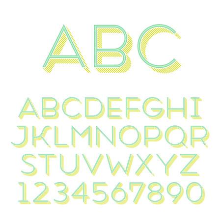 Handmade sans-serif font. Thin 3d-extruded type.
