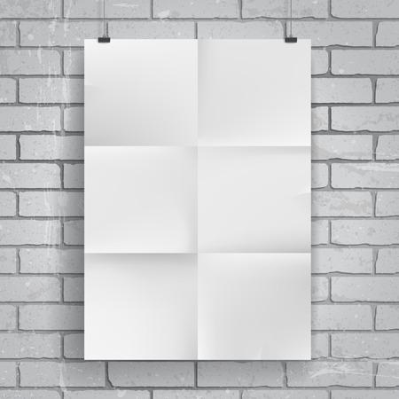 multiply: Cartel de papel en blanco sobre fondo de pared de ladrillo. Coloca el dise�o y aplicar la transparencia con el modo de fusi�n Multiplicar a ella. Vectores