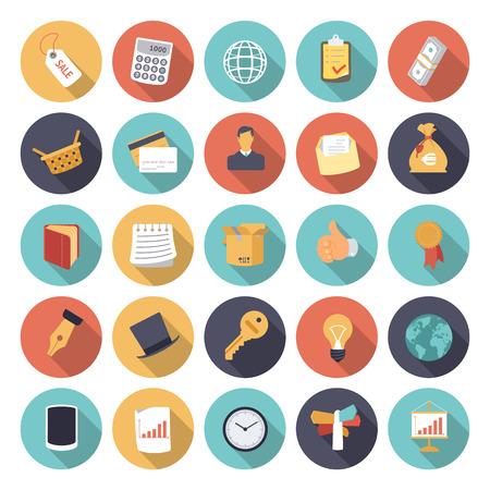 Iconos del diseño Flat para los negocios y las finanzas.