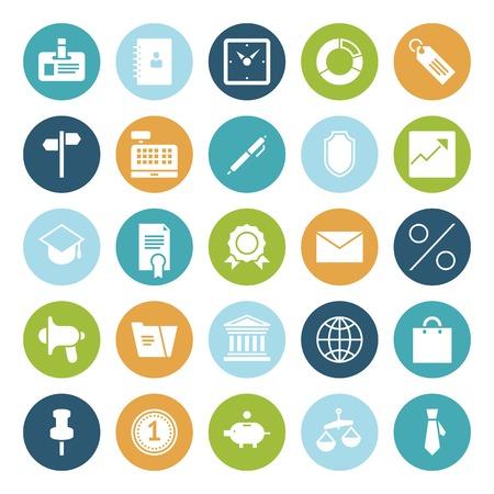 cash register building: Flat design icons for business.  Illustration