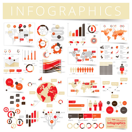 demographics: Infographics with data icons, world map charts and design elements.