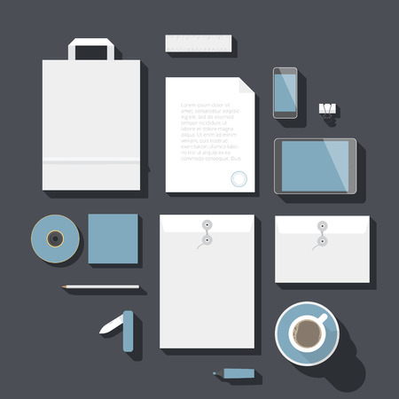 tip up: Flat design corporate identity mock-up template.