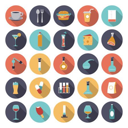 Flache Design-Ikonen für Lebensmittel- und Getränkeindustrie.