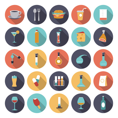 Flat design icons for food and drinks industry.