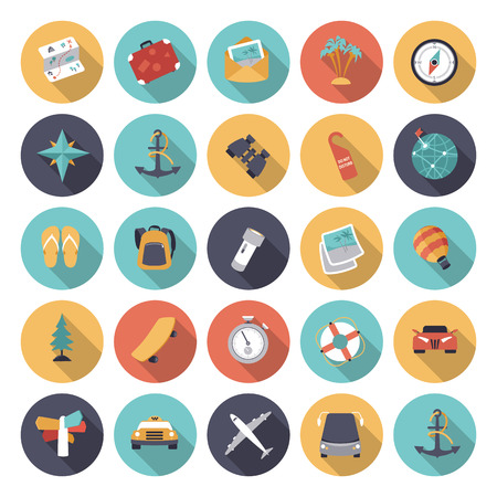 Flat design iconen voor reizen en transport.