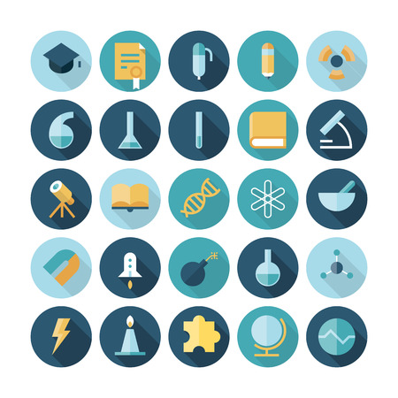 Flat design icons for science and education. Vector