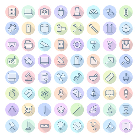 Thin Line Icons For Technology, Industry and Science.