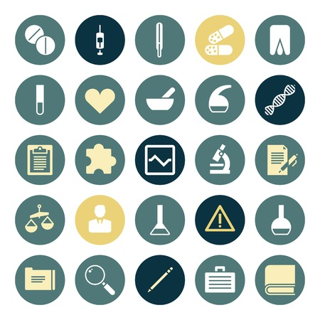 Flat design icons for medical science. Vector illustration. Vector