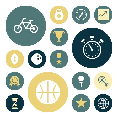 Flat design icons for sport and fitness. Vector