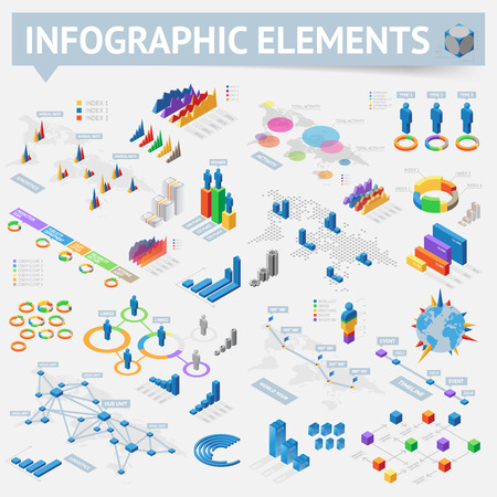 Isometric style infographics with data icons, world map charts and design elements.  Ilustração
