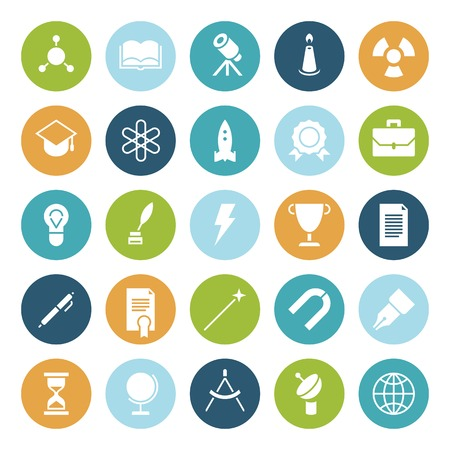 Flat design icons for education and science. Vector illustration. Vector