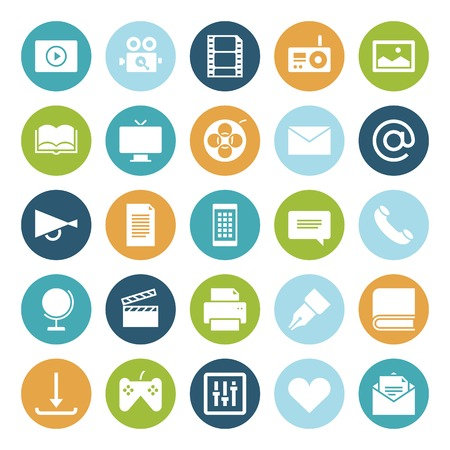 media gadget: Flat design icons for media. Vector illustration.
