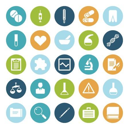 medical research: Flat design icons for medical science. Vector illustration. Illustration