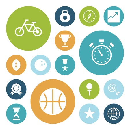 Flat design icons for sport and fitness. Vector illustration. Vector
