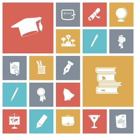 mortar board: Flat design icons for education. Vector illustration.