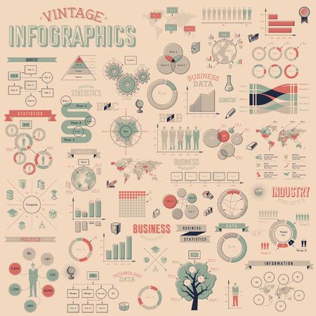 データ アイコン, 世界地図グラフ デザイン要素とビンテージ インフォ グラフィック。ベクトル イラスト。
