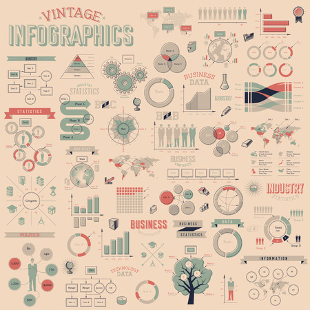retro design: Vintage infographics with data icons, world map charts and design elements. Vector illustration. Illustration