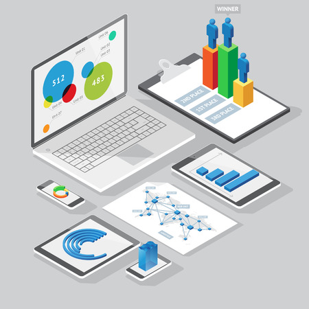 graph paper: Set of infographics design elements on stationery and computer devices. Isometric style. Vector illustration. Illustration