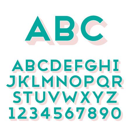 extruded: Handmade carattere sans-serif. Bold 3d-estruso tipo. Glifo principale e 3d parte estruso posto in strati separati di file vettoriale.