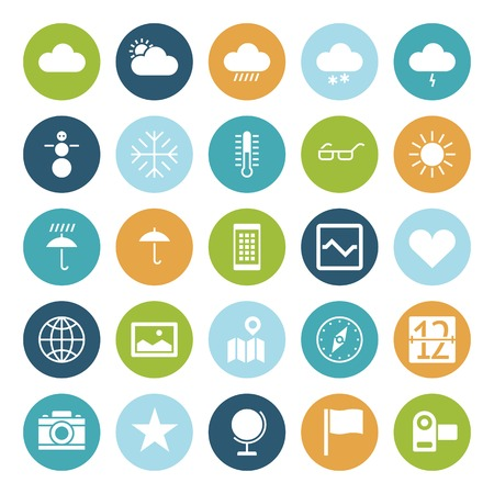 weather map: Flat design icons for user interface. Vector illustration.