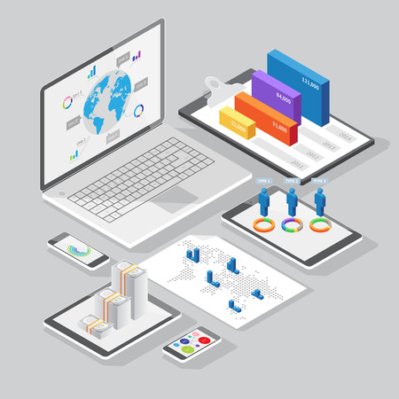 Set of infographics design elements on stationery and computer devices. Isometric style. Vector illustration. Vector