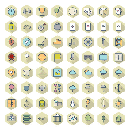 sports app: Thin Line Icons For Leisure, Sport, Travel and Weather. Vector . Illustration