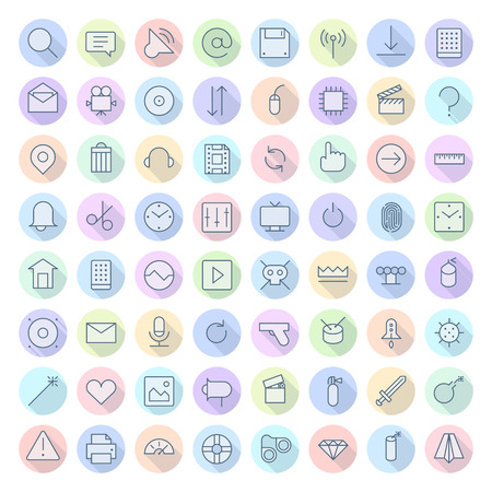 eps10: Thin Line Icons For Interface. Vector eps10.