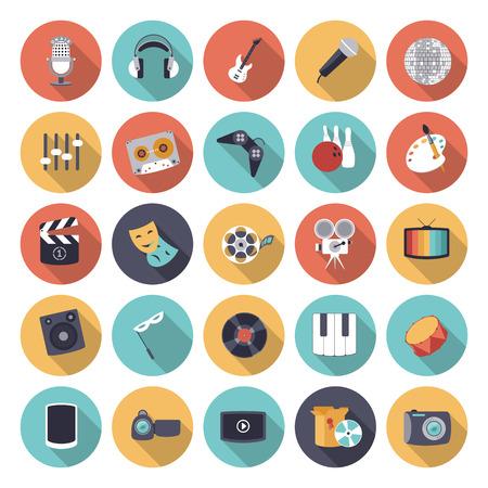 Plat ontwerp pictogrammen voor ontspanning en entertainment. Vector eps10 met transparantie.