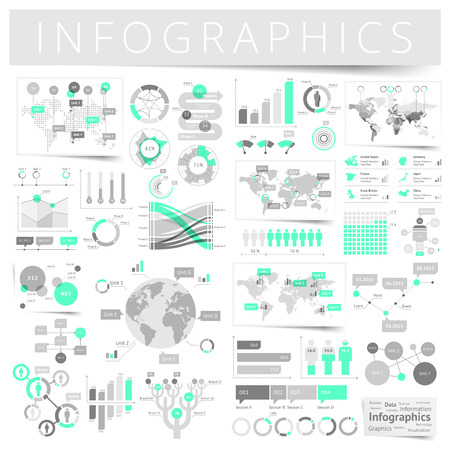 Infographics met data iconen, wereldkaart grafieken en design elementen. Vector illustratie.