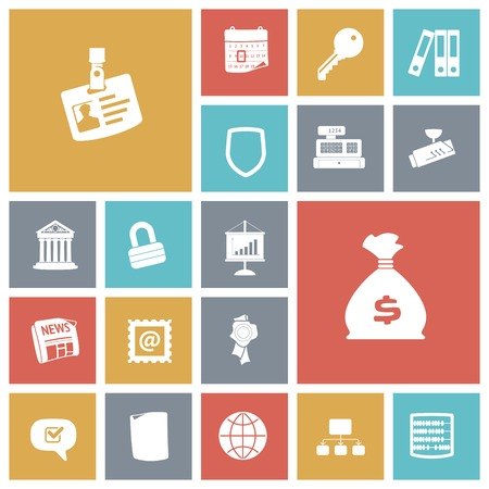 finance icons: Flat design icons for business and finance. Vector illustration. Illustration