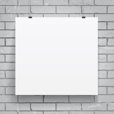 blank poster: Blank paper poster on brick wall background. Vector eps-10. Illustration