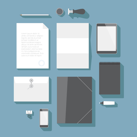 cilp: Flat design corporate identity mock-up template. Vector eps10 with transparency.