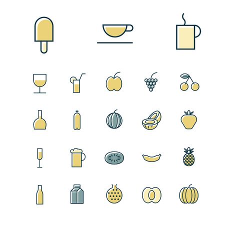coconut drink: Thin line icons for food and drinks. Vector illustration.
