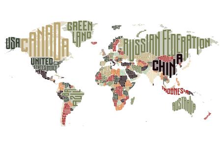 krajina: Mapa světa z jmen typografických zemí. Vektorové ilustrace.