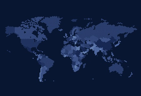 dark blue: Dotted World map of hexagonal dots on dark background. Vector illustration.
