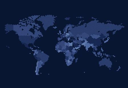 wereldbol: Gestippelde kaart van de wereld van zeshoekige punten op een donkere achtergrond. Vector illustratie.