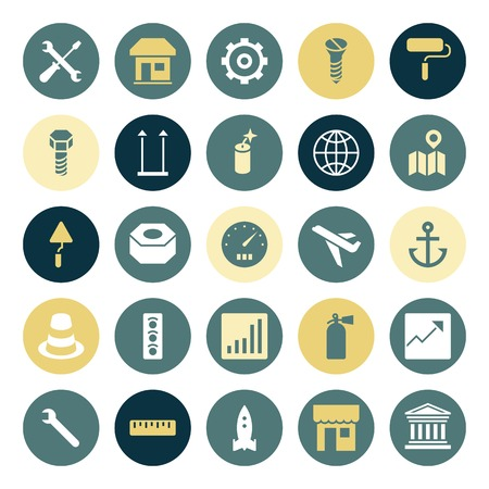 industry icons: Flat design icons for industrial. Vector illustration. Illustration