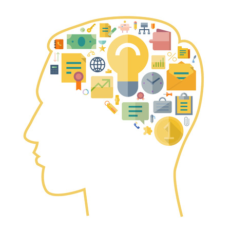 arranged: Icons for business arranged in human brain shape. Vector illustration.
