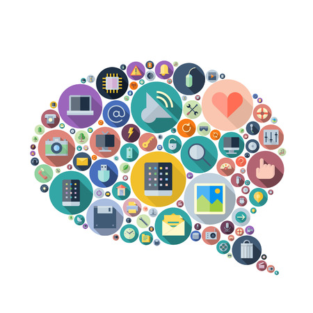 Icons for technology and electronic devices arranged in speech bubble shape. Vector illustration.