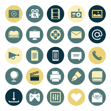 emails: Flat design icons for media. Vector illustration.