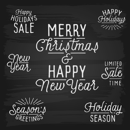slogans: Hand drawn lettering slogans for Christmas and New Year. Vector illustration.