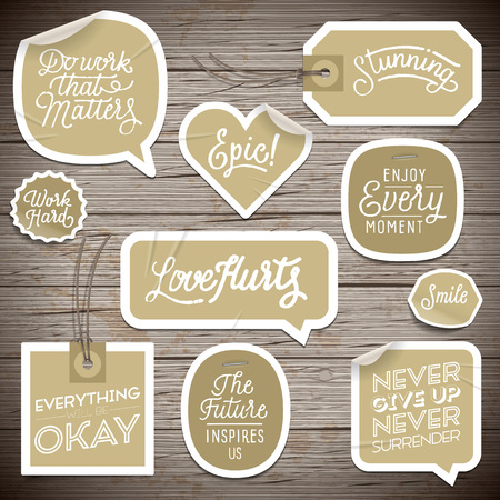 rustic wood: Stickers on rustic wood background. Illustration