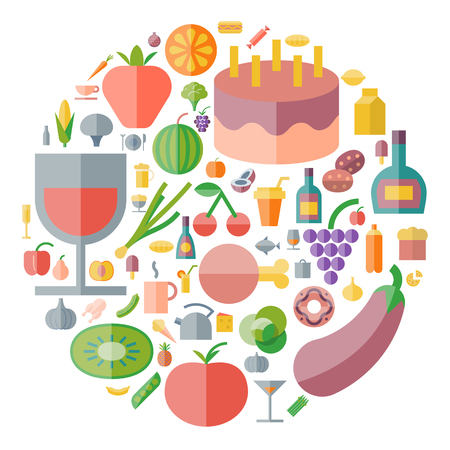 drink food: Icons for food and drink arranged in circle. Illustration