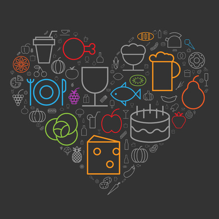 heart clipart: Icons for food and drinks arranged in heart shape.