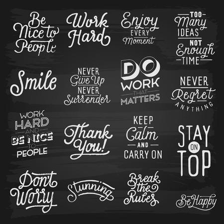 slogans: Hand drawn lettering slogans. Illustration
