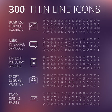 Thin Line Icons For Business, Interface, Leisure and Food. Illustration